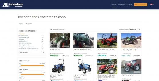 Website screenshot Agrimachines Tweedehands